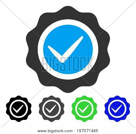 Valid Seal flat vector pictogram. Colored valid seal gray, black, blue, green icon versions. Flat icon style for graphic design.