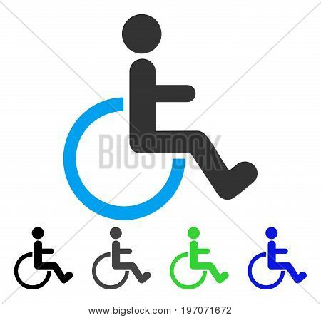 Disabled Person flat vector illustration. Colored disabled person gray, black, blue, green icon versions. Flat icon style for graphic design.