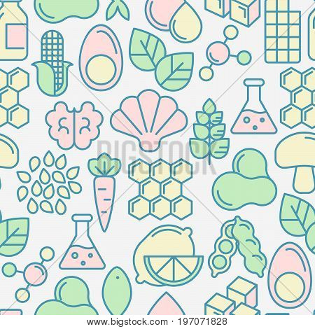 Food intolerance seamless pattern with thin line icons of common allergens, sugar and trans fat, vegetarian and organic symbols. Vector illustration.