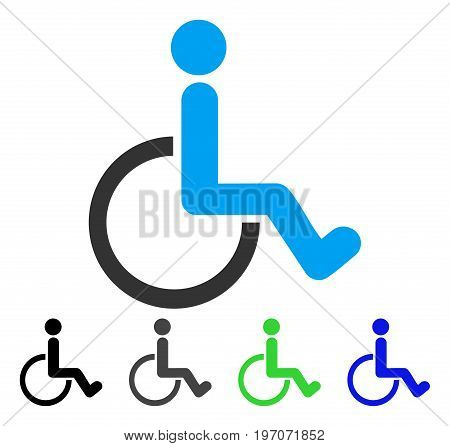 Disabled Person flat vector pictograph. Colored disabled person gray, black, blue, green pictogram variants. Flat icon style for graphic design.