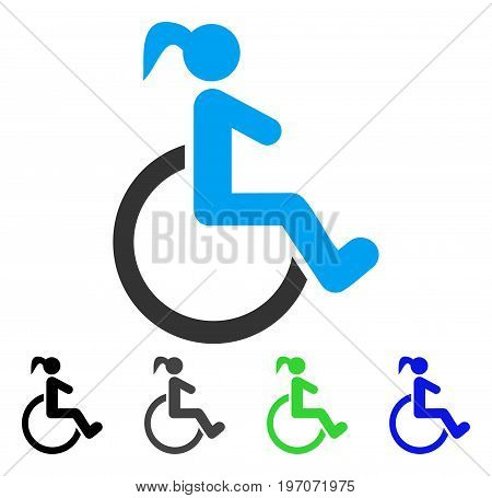 Disabled Woman flat vector pictograph. Colored disabled woman gray, black, blue, green icon variants. Flat icon style for application design.