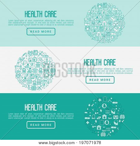 Health care concept with thin line icons related to hospital, clinic, laboratory. Vector illustration for conclusion, banner, web page.