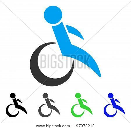 Wheelchair flat vector pictograph. Colored wheelchair gray, black, blue, green pictogram variants. Flat icon style for application design.