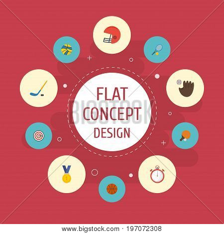 Flat Icons Table Tennis, Rocket, Puck And Other Vector Elements