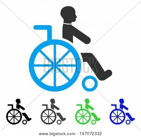 Wheelchair flat vector illustration. Colored wheelchair gray, black, blue, green icon versions. Flat icon style for application design.