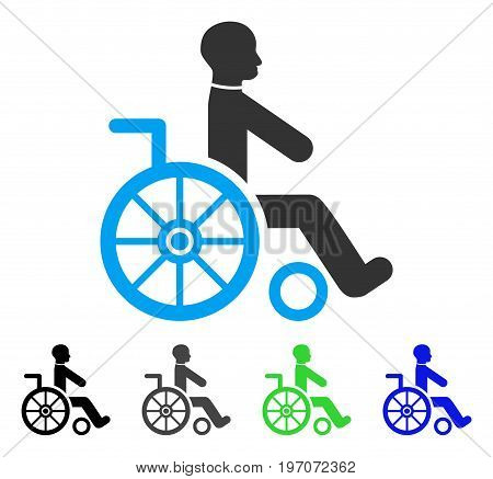 Wheelchair flat vector pictogram. Colored wheelchair gray, black, blue, green icon versions. Flat icon style for web design.