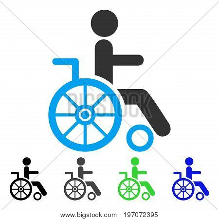 Wheelchair flat vector icon. Colored wheelchair gray, black, blue, green icon versions. Flat icon style for graphic design.