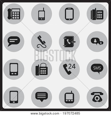 Set Of 16 Editable Gadget Icons. Includes Symbols Such As 24 Hour Servicing, Smartphone, Address Notebook And More