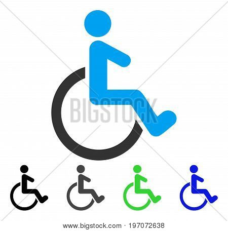Wheelchair flat vector illustration. Colored wheelchair gray, black, blue, green pictogram variants. Flat icon style for graphic design.
