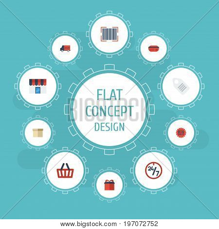 Flat Icons Support, Payment, Present And Other Vector Elements