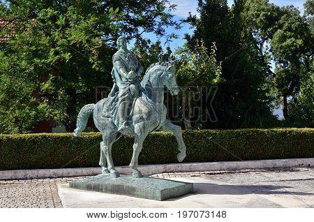 Sculpture King D. Manuel Ii In Luso, Portugal