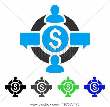 Financial Social Network flat vector icon. Colored financial social network gray, black, blue, green icon variants. Flat icon style for web design.