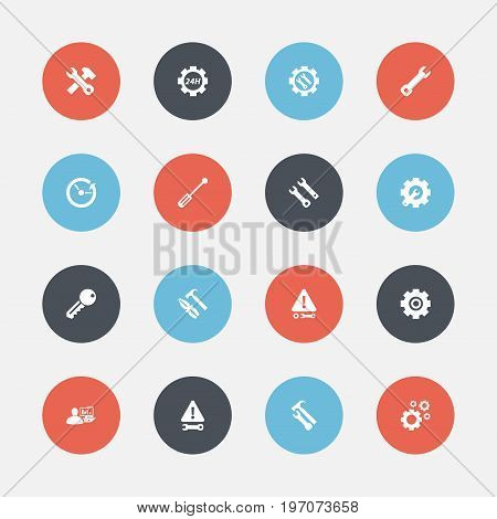 Set Of 16 Editable Service Icons. Includes Symbols Such As Wrench Hammer, Caution, Time And More