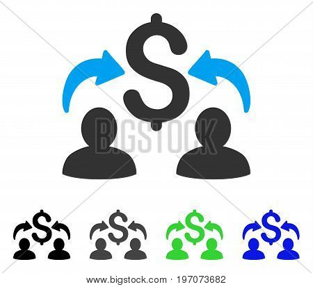 Money Changers flat vector pictogram. Colored money changers gray, black, blue, green pictogram versions. Flat icon style for graphic design.