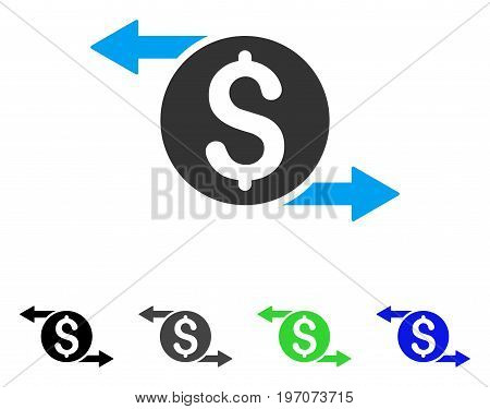 Money Exchange flat vector icon. Colored money exchange gray, black, blue, green icon versions. Flat icon style for graphic design.