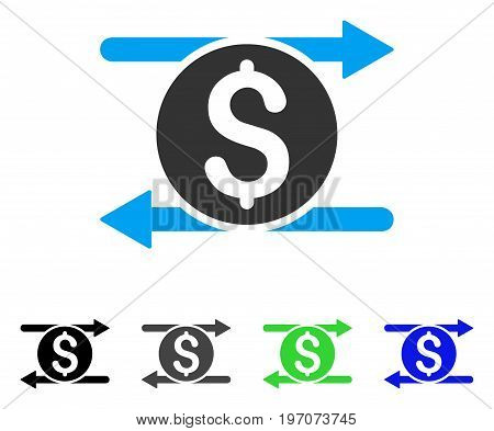 Money Exchange flat vector illustration. Colored money exchange gray, black, blue, green icon variants. Flat icon style for application design.