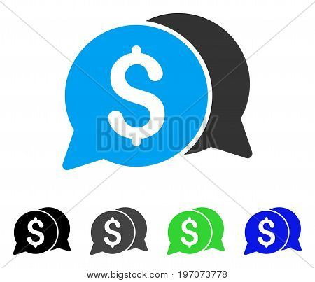 Money Messages flat vector pictogram. Colored money messages gray, black, blue, green icon versions. Flat icon style for web design.