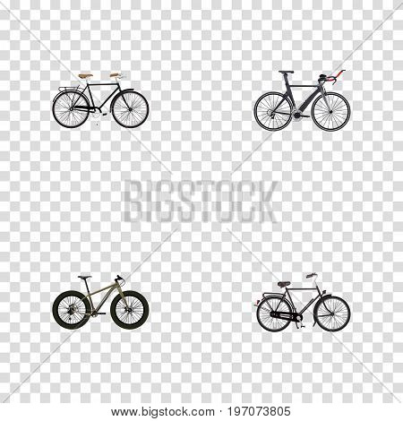 Realistic Competition Bicycle, Training Vehicle, Fashionable And Other Vector Elements