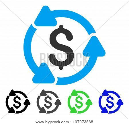 Money Turnover flat vector icon. Colored money turnover gray, black, blue, green icon versions. Flat icon style for graphic design.