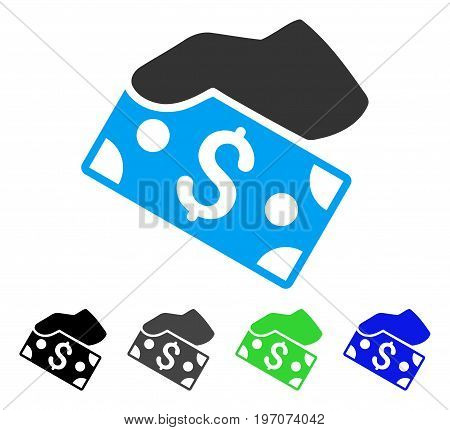 Pay Cash flat vector icon. Colored pay cash gray, black, blue, green icon versions. Flat icon style for application design.
