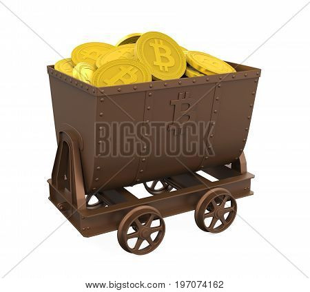 Mining Cart with Golden Bitcoins isolated on white background. 3D render