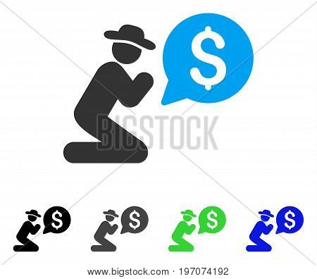 Pray For Money flat vector icon. Colored pray for money gray, black, blue, green pictogram versions. Flat icon style for graphic design.