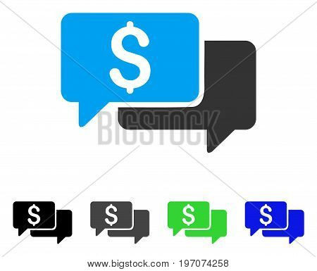 Price Bids flat vector illustration. Colored price bids gray, black, blue, green pictogram versions. Flat icon style for graphic design.