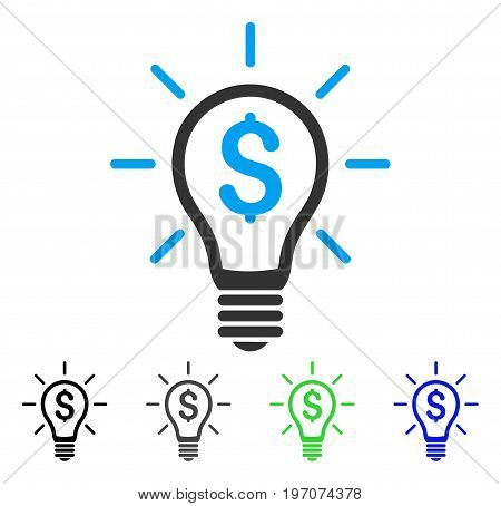 Profitable Invention flat vector pictogram. Colored profitable invention gray, black, blue, green icon versions. Flat icon style for application design.