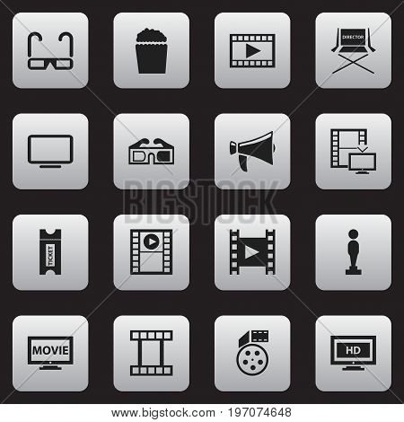 Set Of 16 Editable Cinema Icons. Includes Symbols Such As Hd Screen, Video, Television And More