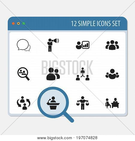 Set Of 12 Editable Team Icons. Includes Symbols Such As Staff Structure, Meeting, Conversation And More