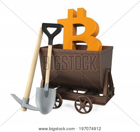 Mining Cart, Pick Axe, Shovel with Bitcoin Symbol isolated on white background. 3D render