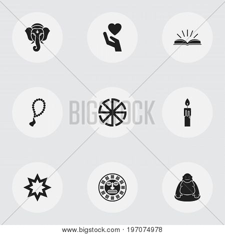 Set Of 9 Editable Dyne Icons. Includes Symbols Such As Fire Wax, Feng ShUI, Rosary And More