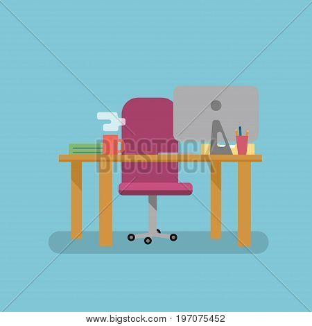 Workplace flat vector style. Chair table and computer. Ready background for the animation. Place for character