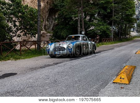 PESARO, ITALY - MAY 15: MERCEDES-BENZ 300 SL W 194 PROTOTYPE 1952 old racing car in rally Mille Miglia 2015 the famous italian historical race 1927-1957 on May 15 2015