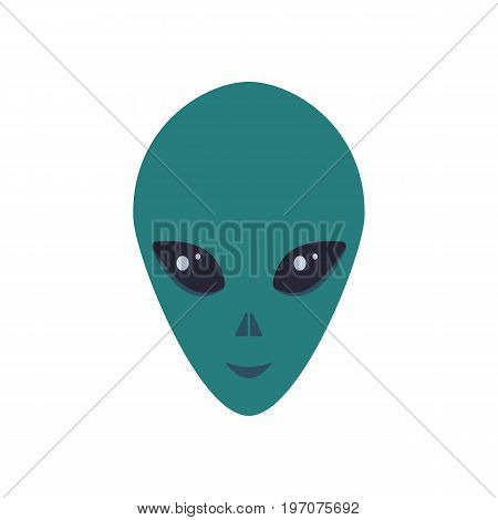 Vector illustration. The head of a green alien with a smile