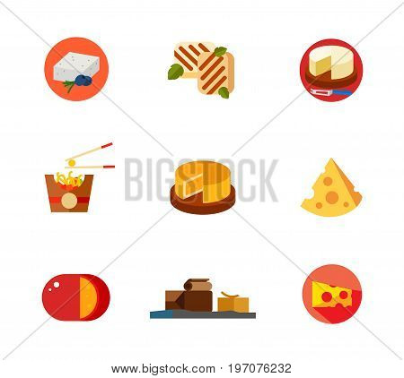 Cheese icon set. Feta Cut camembert Balls Round cheese Cut cheese piece Gouda Brunost Piece. Contains bonus icon of Sandwiches