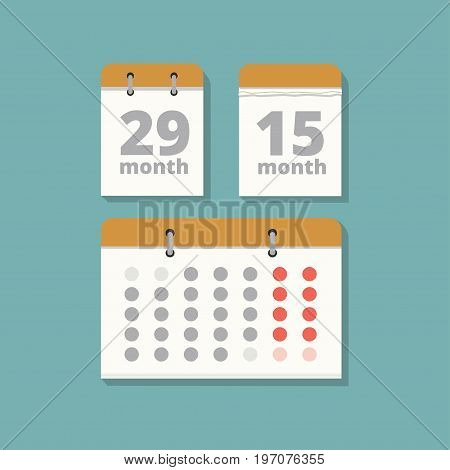 Vector set wall calendars in flat style. Three paper calendar for a month. Calendar icon. Element office background.