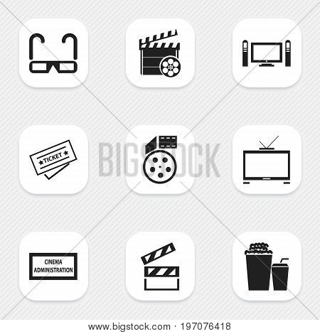 Set Of 9 Editable Cinema Icons. Includes Symbols Such As Hd Television, Drink, Clapper And More
