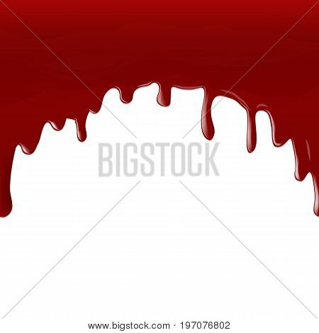 Vector illustration. A stream of red blood flowing down on a white background. Design for decoration in the style of horror.