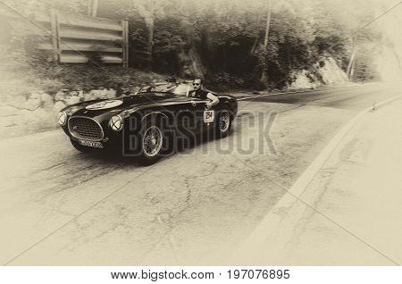 GOLA DEL FURLO, ITALY - MAY 19: FERRARI 225 S SPIDER VIGNALE 1952 on an old racing car in rally Mille Miglia 2017 the famous italian historical race (1927-1957) on May 19 2017