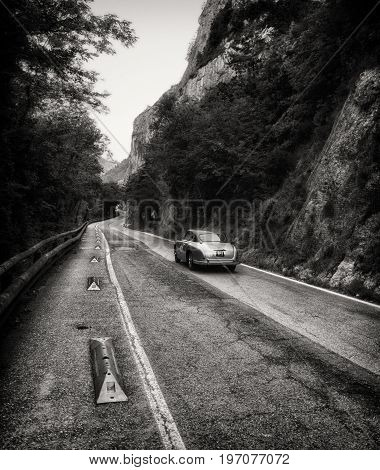 GOLA DEL FURLO, ITALY - MAY 19: ALFA ROMEO 1900 C SPRINT GARA TOURING 1952 on an old racing car in rally Mille Miglia 2017 the famous italian historical race (1927-1957) on May 19 2017