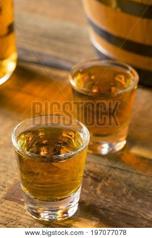 Alcoholic Brown Rum In A Shot Glass