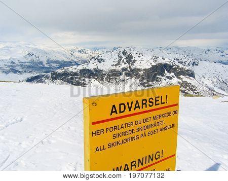 Beginning of off-piste skiing slope in Hemsedal, Norway