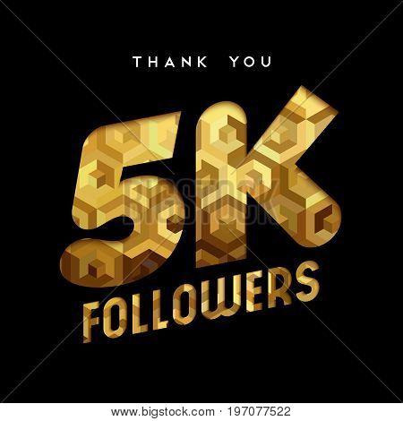 5K Gold Internet Follower Number Thank You Card
