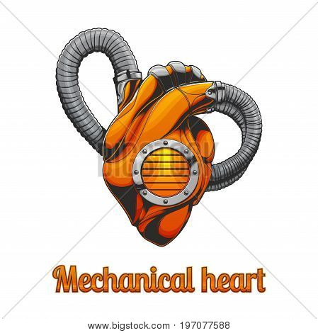Mechanical heart on white background. Can be used as an illustration for T-shirts or posters.