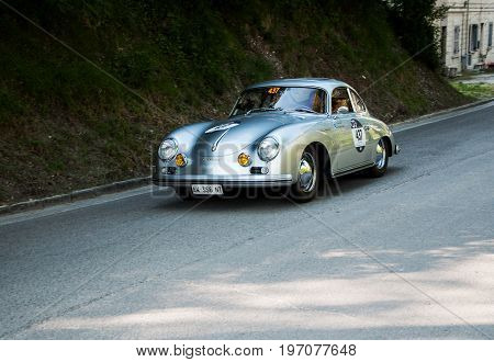 GOLA DEL FURLO, ITALY - MAY 19: PORSCHE 356 A 1500 GS CARRERA 1956 on an old racing car in rally Mille Miglia 2017 the famous italian historical race (1927-1957) on May 19 2017