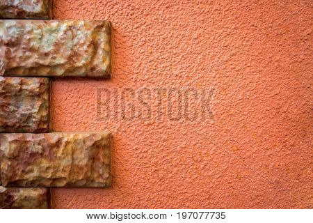 pattern of red wall with brick stone