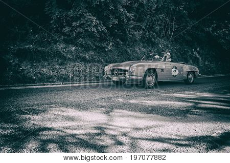 GOLA DEL FURLO, ITALY - MAY 19: MERCEDES-BENZ 190 SL 1956 on an old racing car in rally Mille Miglia 2017 the famous italian historical race (1927-1957) on May 19 2017