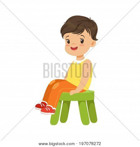Cute little boy sitting on a small green stool, colorful character vector Illustration