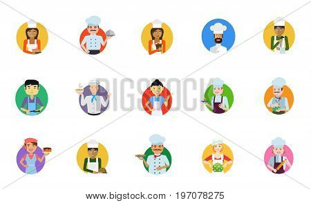 Cooking people icon set. Confectioner Chef with cloche Female chef Man in cook cap Ladle Frying pan Hot soup Sushi bar Female confectioner Cooking Cake Cutting bread Pizza Housewife Rolling pin